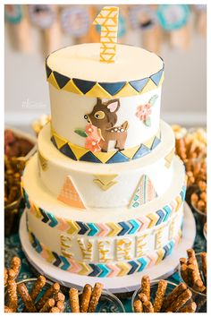 My daughter's birthday cake by Polkadots Cupcake Factory in Austin, TX -- teepee, deer, and aztec and inspired cake