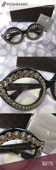 """GUCCI Black Crystal Embellished Cat Eye Glasses As seen on Beyoncé! Was a gift, but not my style.  Brand new, in box with dust cloth. 100% AUTH!   Black frames, clear glass. Crystal / jewel embellished all around the frontal rims. The logo """"GUCCI"""" grace the peripheral sides in a metallic gold scroll.  Hoping to move fast so my gifter won't see me posting this on Poshmark, lol Gucci Accessories Glasses"""