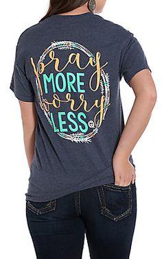 e573a326 Girlie Girl Originals Women's Heather Navy Pray More Worry Less Short Sleeve  T-Shirt