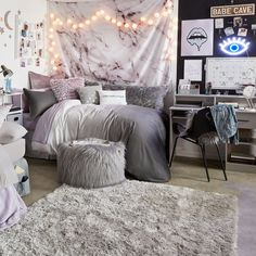 Grey ombre duvet cover and sham set– dormify. grey ombre duvet cover and sham set– dormify bedroom ideas for women in their visit Cute Room Decor, Cute Bedroom Ideas, Teen Room Decor, Teen Bedroom Inspiration, College Room Decor, My New Room, My Room, Dorm Room Designs, Bedroom Designs