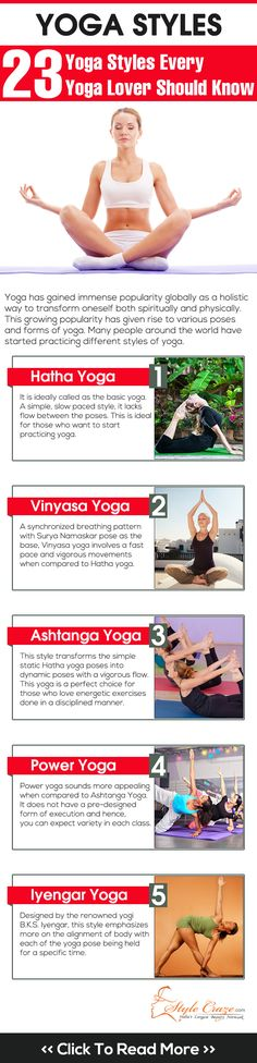 23 Yoga Styles Every Yoga Lover Should Know #yoga #vinyasa #hatha http://www.pinterest.com/mokshawc/handstands-and-headstands/
