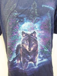 Vintage Wolf Indie Hipster Animal Print Nature T-Shirt L