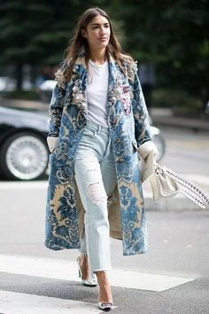 Loving this printed blue coat paired with a white tee and distressed jeans. Upgrade your look!