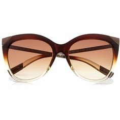 Dark brown metal detail cat eye sunglasses ( 24) ❤ liked on Polyvore  featuring accessories, eyewear, sunglasses, cat eye glasses, cateye  sunglasses, ... 8fb80bf6374b