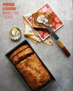 Pumpkin and Banana Marble Loaf