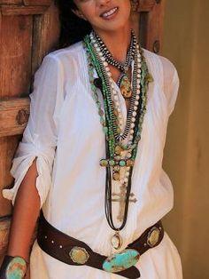 bohemian boho style hippy hippie chic bohème vibe gypsy fashion indie folk look Cowgirl Chic, Western Chic, Cowgirl Style, Western Wear, Look Boho Chic, Bohemian Style, Hippie Chic, Turquoise Jewelry, Boho Jewelry