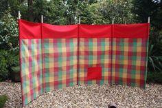 Fabric Windbreak (Red multi checks) 5 pole beach garden camping festival