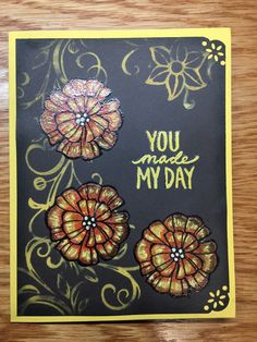 Stampin Up Falling Flowers & Best Day Ever stamps sets used. Embossing, watercolor & bleach techniques used. http://www.stampinup.com/ECWeb/ProductDetails.aspx?productID=142329&dbwsdemoid=2158591