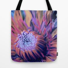 Floral abstract(6). Tote Bag by Mary Berg - $22.00 #totebag #society6 #flower #purple #blue #women