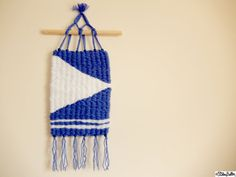 Nautical Inspired Royal Blue and Crisp White Wool/Yarn Peg Loom Woven Wall Hanging with Pine Wooden Dowel and Wooden Beads