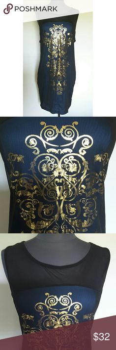 "Sexy Plus Size Navy Metallic Gold Carpe Diem Dress This beautiful navy blue and metallic gold Carpe Diem dress is in great condition but there is a snag going across the chest.  It is a very sexy semi sheer dress.  It is made of 92% polyester and 8% spandex so it has a lot of stretch. *All measurements unstretched* Chest:20"" Waist:18"" Hips:20""  My home is smoke-free and pet-free.  Check out the other items in my closet to bundle two or more items for a great bundle discount.  I consider all…"