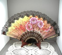 Vintage Hand Fan Black Lace and Flowers ca. 1950s