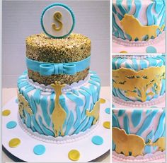 Sophisticated jungle theme baby shower cake