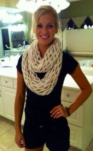 Cream With Tan/white Accent Arm Knit Infinity Scarf - Cream With Tan/white Accent Arm Knit By Morgscreativeoutlet