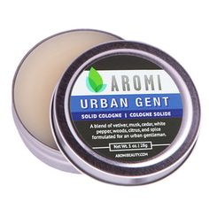 Aromi - Urban Gent Solid Cologne Urban Gent has notes of vetiver, musk, amber, cedar, white pepper, woods, citrus, and spice.   men's gift ideas | men's fragrance | men's cologne | men's solid colognes | traveler gifts | travel accessories | manly fragrance | gifts for metrosexual | gifts for the urban man | boy gift ideas | funny men's gift | husband gift ideas | boyfriend gift ideas | brother and son gift ideas |  (http://www.aromibeauty.com/urban-gent-solid-cologne/)