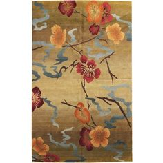 Kimono Gold, Modern Floral Rug ❤ liked on Polyvore featuring home, rugs, flowered rugs, gold rug, modern floral rug, flora rug and floral area rugs