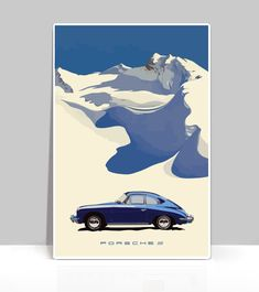 "Bali Blue 356 Porsche in snow inspired by The Million-Mile Porsche 356. by Guy NewmarkDigital Print Illustration. Available Sizes: 12"" x 18"", 18""x 24"" or 24"" x 36"" Material: Our aluminum boards are made with two sheets of corrosion resistant aluminum perma"