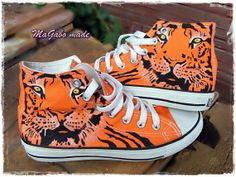 hand painted unique tiger orange Converse All Star high top shoes sneaker Orange Converse, Cool Converse, Painted Converse, Painted Sneakers, Painted Shoes, Converse All Star, Converse Shoes, Shoes Sneakers, Disney Shoes