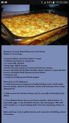 Momma's Creamy Baked Macaroni and Cheese - Donna's Version: Add an extra cup of . - Momma's Creamy Baked Macaroni and Cheese – Donna's Version: Add an extra cup of milk (I use s - Macaroni Cheese Recipes, Creamy Macaroni And Cheese, Mac And Cheese Recipe Baked Velveeta, Homemade Mac And Cheese Recipe Baked, Oven Mac And Cheese, Southern Macaroni And Cheese, Southern Baked Mac N Cheese Recipe, Bake Mac And Cheese Recipe Soul Food, Gastronomia