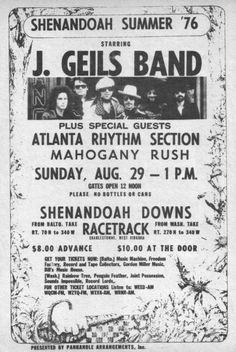 Concert Flyer: August 29th 1976 – The J. Geils Band @ Shenandoah ...