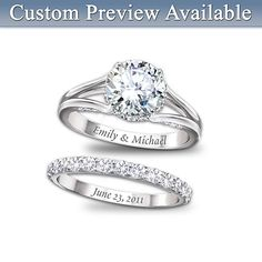 Personalized Jewelry - A life of love spent together all starts with a promise - so make that pledge with this magnificent personalized bridal ring set! Give her the ultimate brilliance of... More Details
