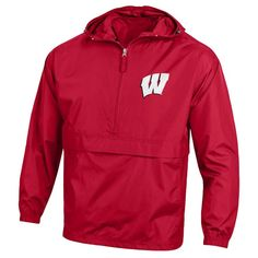 Men's Champion Wisconsin Badgers Pack 'n' Go Jacket, Size: Medium, Red