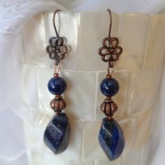 Bohemian Blue Gemstone Earrings in Lapis Lazuli and Copper Lapis Lazuli Earrings, Gemstone Earrings, Drop Earrings, Bohemian Style, Boho, Blue Gemstones, Dangles, Copper, Fun