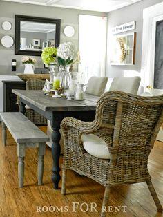 Rooms for Rent Doucette Design: Farmhouse Dining room table For Kitchen? Dining Room Table, Dining Chairs, Wicker Chairs, Dining Bench, Dining Rooms, Table Bench, Dining Area, Chair Bench, Bench Seat