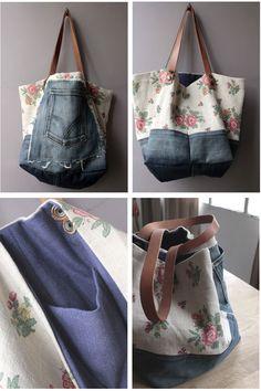 idea for mixing my old denims Diy Sac, Denim Handbags, Denim Ideas, Denim Crafts, Recycle Jeans, Couture Sewing, Recycled Denim, Denim Bag, Fabric Bags