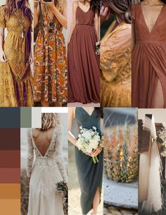 Trending for Mustard Yellow! Paired with rich wine red for modern boho wedding inspiration in dramatic jewel tones with fresh style! Western Wedding Dresses, Boho Wedding, Fall Wedding, Bridal Dresses, Dream Wedding, Orange Wedding, Bridesmaids And Groomsmen, Wedding Bridesmaids, Bohemian Bridesmaid