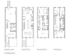 East Harlem Brownstone floor plan 16'x40' bldg