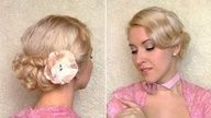 Easy prom hairstyle for medium hair Curly wedding updo for short shoulder length hair Valentines, via YouTube.