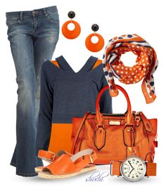 """""""Feeling Blue? Have Orange Pop"""" by shuchiu ❤ liked on Polyvore featuring BLANK, Witchery, Maison Margiela, Burberry, Banana Republic, Timex, MOOD, KORS Michael Kors, flatform shoes and oversized watches"""