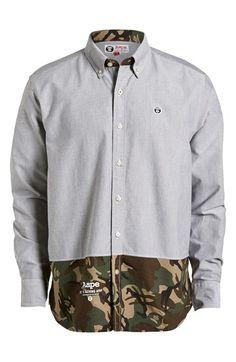 Aape by A BATHING APE® Camo Trim Button Down Shirt (Men)   Nordstrom