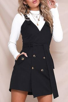 Jumping Off Point Sleeveless Buckle Strap Cross Wrap V Neck Button Blazer Casual Mini Dress Oversized Sweater Outfit, Sweater Outfits, Preppy Fall Outfits, Spring Outfits, Estilo Geek, Black Women Fashion, Womens Fashion, Style Noir, Style Casual