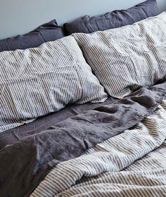 In Bed Stripe Linen Duvet Set Bedrooms Home Bedroom Linen Duvet Cozy Bedroom, Bedroom Inspo, Dream Bedroom, Bedroom Decor, Linen Bedroom, Home Living, Apartment Living, Deco Studio, Linen Duvet