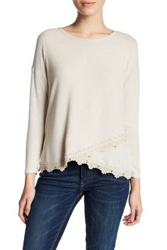 Long Sleeve Crochet Hem Sweater (Petite)