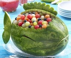 watermelon carving fish