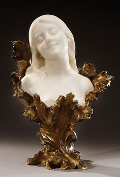 HENRI GODET Art Nouveau patinated bronze and white Carrare marble bust of a woman adorned with poppies, Signed and marked «H Godet-médaille d'or 1893 Design Art Nouveau, Marble Carving, Vase Cristal, Statues, Art Nouveau Architecture, Plastic Art, Art Sculpture, Motif Floral, Bronze