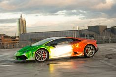 Lamborghini Huracan Wrapped in Tricolor Flames by Print Tech - GTspirit