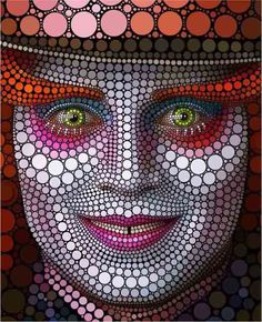 This artist (unknown) has used circles in art to replicate the Mad Hatter from Lewis Carol's 'Alice in Wonderland' The use of color and shading makes it look three dimensional. However the use of size in the circles gives an effect of human like features an example of this is the cheek bones.
