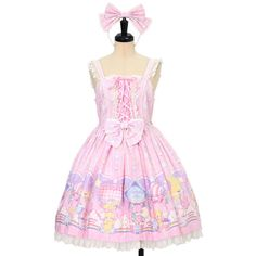 Cotton Candy Shopジャンパースカートカチューシャ Angelic Pretty ($120) ❤ liked on Polyvore featuring tops and pink top