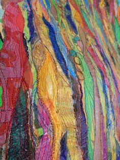 """Detail II from work:"""" Color deafness"""" fused plastic, organza, theads, sewn 90 x 75 cm Detail uit werk """"Kleurendoof"""" freemotion meander naaiwerk, organza, heel veel fused plastic. Geskea Andriessen - 2015"""