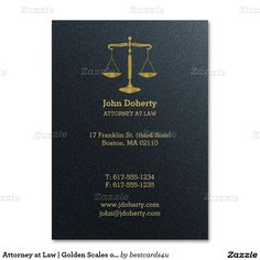 Attorney at Law | Golden Scales of Justice Large Business Card