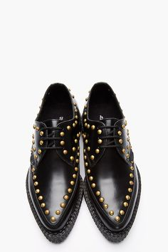 UNDERGROUND Black Studded Leather Pointed Barfly Creepers