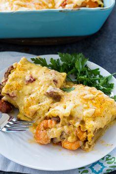 Cajun Shrimp Lasagna Roll-Ups - Spicy Southern Kitchen Cajun Shrimp Recipes, Seafood Recipes, Cooking Recipes, Cooking Courses, Cooking 101, Steak Recipes, Shrimp Dishes, Pasta Dishes, Crepes