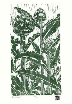 Artichoke print woodblock print woodcut printmaking large