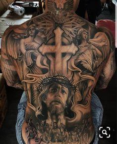 The 90 Best Back Tattoos [Femininas e Masculinas] Jesus Tattoo, Christ Tattoo, Cool Chest Tattoos, Chest Piece Tattoos, Badass Tattoos, Chicano Style Tattoo, Chicano Tattoos, Body Art Tattoos, Angel Tattoo Designs