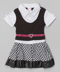 Another great find on #zulily! Black Houndstooth Button-Up Dress - Toddler & Girls #zulilyfinds