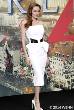Angelina Jolie - 'World War Z' Premiere in Berlin - wearing Ralph & Russo. Little White Dresses, White Outfits, Nice Dresses, Angelina Jolie Photos, Fashion Terms, Women's Fashion, Fashion Articles, Red Carpet Dresses, Celebs